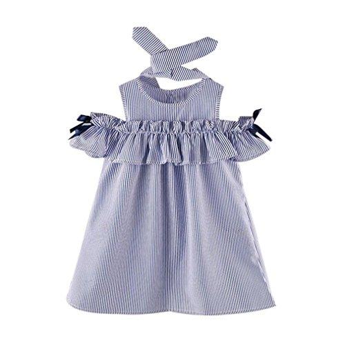 6 Mädchen Größe Kleidung Sommer (Vovotrade Sommer Kleinkind Kinder Baby Mädchen Outfit Kleidung trägerlosen Streifen Kleid + Stirnband Set 2PCS (Größe: 5/6 Jahre alt))