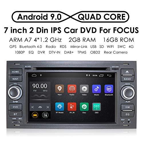 hizpo Android 9.0 en Dash radio double DIN stéréo l'interface de l'Autoradio écran tactile de 17,8 cm pour Ford Focus Mondeo S-Max C-Max Galaxy Support GPS Navigation écran Miroir SWC DVD 4G Wifi