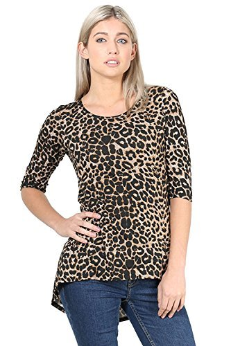 er Kurzärmelig Kragen Knöpfe Up Gestreift Polo Shirt - Leopard, Plus Size (UK 16/18) (Plus Size Leopard Kostüm)