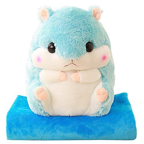 Hamster Niedlich Angefüllte Tiere Plüschtiere Korallen Fleece Wurf Kissen und Klimaanlage Auto Decke Kissen Set. (Niedliche Decke)