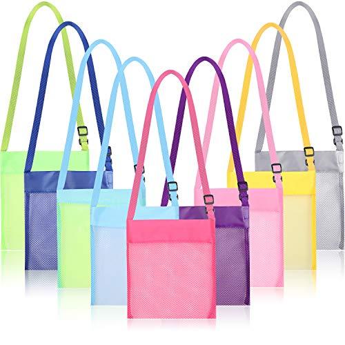 Maitys 9 Stück Bunte Mesh Strandtaschen Mesh Tasche Mesh Muschel Taschen Aufbewahrungstasche mit Verstellbarem Gurt für die Aufbewahrung von Schatzschalen Spielzeug, 9 Farben