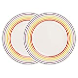 Bugatti 1109601 Large Rainbow Multicoloured Striped Edge Dinner Plates, 27 cm, Set of