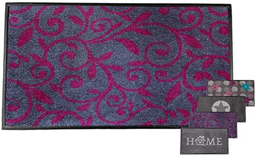 Carpet Diem Schmutzfangmatte Soft Ranke 50x75cm Velour Schmutzfang Rahmen, Rückseite rutschhemmend saugstarkes Garn der fußmatten Haustür nimmt Dreck und Wasser auf fussmatten innen