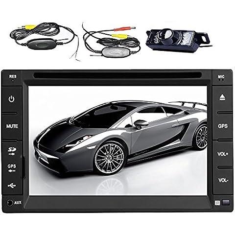 Pupug alta definizione del nuovo modello touch screen da 6,2 pollici Doppio-2 DIN In Car Dash Car Stereo lettore DVD Monitor LCD con DVD / CD / MP3 / MP4 / USB / SD / AMFM / RDS / ipod / Radio / BT / audio e GPS Navi Wireless Camera