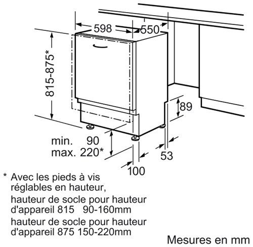 Bosch SMV50E60EU Lave Vaisselle Intégrable 59,8 cm Nombre de Couverts: 12 48 dB Classe: A+