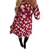 FEITONG Women Xmas Print Swing Dress Ladies Christmas Long Sleeve Flared Party Dresses