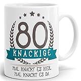 Tasse Geburtstag mit Spruch Kackige 80 - Bedruckter hochglänzender Kaffeebecher zum Geburtstag in weiß ab 1 Stck.