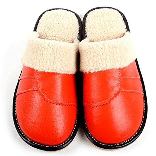 Buzede Accueil Pantoufles En Cuir De Coton Femmes Hommes Hiver Chaud Semelle Sol Épaisse Couple Intérieur Non-slip Orange