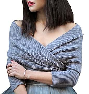 frauen weg vom schulter crop strickpullover strickwaren tops pullover grau bekleidung. Black Bedroom Furniture Sets. Home Design Ideas