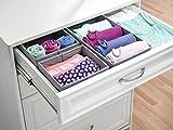 mDesign 6er-Set Stoffbox für Schrank oder Schublade – die ideale Aufbewahrungsbox (Stoff) – flexibel verwendbare Stoffkiste – grau - 3