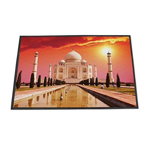 banjado Design Fußmatte 70x50cm Türvorleger Rutschfest Haustür Schmutzfangmatte mit Motiv Taj Mahal (Schwarz Teppich Mahal)