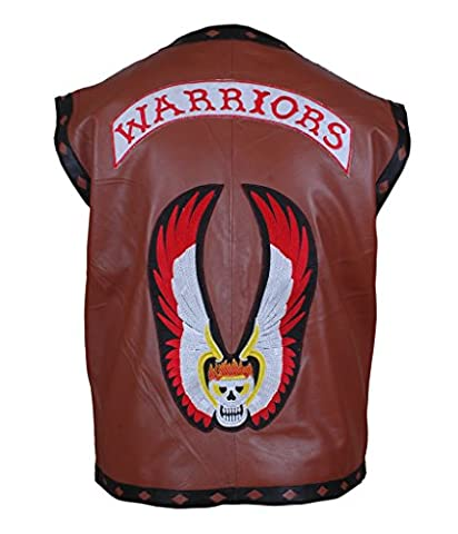 F&H Men's The Warriors Movie Genuine Leather Vest 5XL Brown