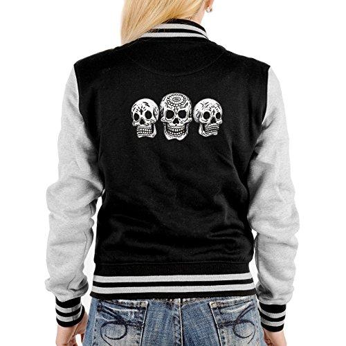 Lady Jacke ::: Three Skulls ::: mit USA Motiv auf der Rückseite Schwarz