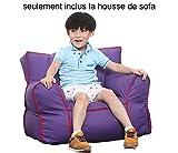 Quwei DIY pour enfant Assise doux Canapé confortable Chaise en forme de poire Motif intérieur/extérieur Coussin de sol pour enfants Chambre de bébé (Couverture de canapé, violet)