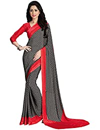 Sthri Women's Crepe Saree With Blouse Piece (L3139S-308_Black-Red )