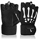 Alphachoice Trainingshandschuhe / Handschuhe Training - Fitness Handschuhe Herren und Damen - einsetzbar als Sporthandschuhe, Gym Handschuhe, Gewichthandschuhe - Skelett Design und Handgelenkschutz