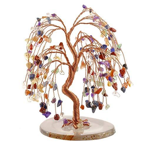 Jsdde, statuine di cristallo curativo a forma di albero con base in agata naturale, ornamenti feng shui, 7 chakra