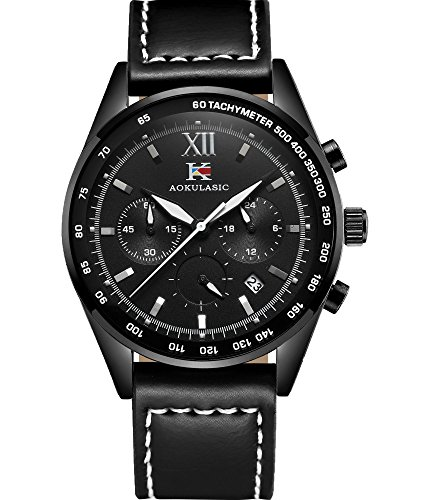 AOKULASIC Mens Fashion Chronograph Quartz Waterproof Wrist Watch with Particular Multi-Function Sub-Dials (Black)