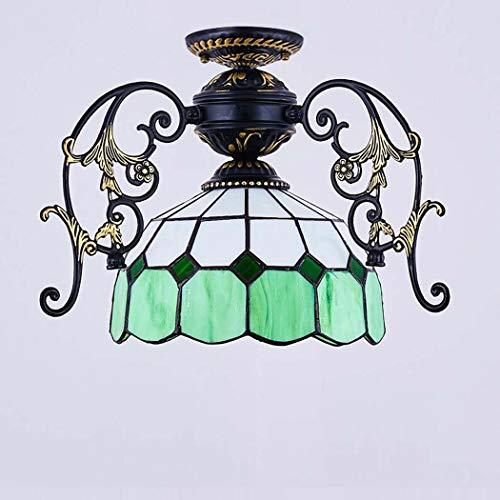 Tiffany-Stil Kronleuchter (Glasmalerei Schatten Mini Deckenleuchte) 1 Lichter Dekoration Unterputz Decke Anhänger Hängelampe Leuchte Für Schlafzimmer Wohnzimmer (Multicolor) (Color : 16) - Energiesparende Mini-anhänger