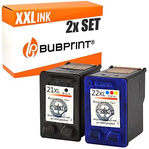 2 Bubprint Druckerpatronen kompatibel für HP 21 22 XL für DeskJet F370 F375 F380 F2180 F2280 F2200 F4180 OfficeJet 4315 J3680 PSC 1400 1410 1415 Multipack -