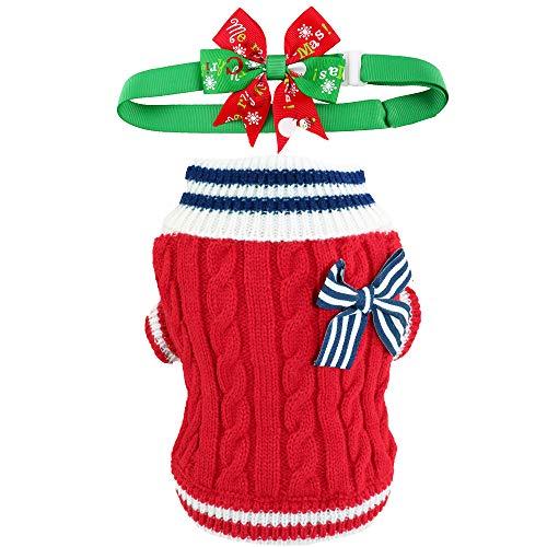 Aiwind Weihnachtspullover für Hunde und Katzen, verstellbar, mit Fliege, Marineblau, L, Marineblau/rot