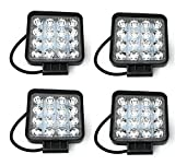 SAILUN Arbeitslicht 4x48W LED Offroad Flutlicht Spotlight Reflektor Scheinwerfer Arbeitsscheinwerfer 2800LM Schwarz Aluminium Druckguss IP67 (4*48W Quadrat)