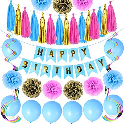 Geburtstagsparty Dekoration Kit, Happy Birthday Party Supplies für Frauen, Kinder, Baby-Dusche und Hochzeiten mit Happy Birthday Banner, hängende Strudel, Quasten, Pom Pom Blumen, Luftballons -