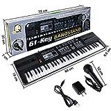 Renfox Keyboard Piano,Digital Music Piano Electronic 61Key Multi-function kids Piano, music keyboard with Microphone For Kids Children (Black)