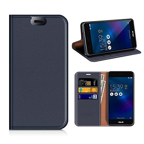 MOBESV ASUS Zenfone 3 Max ZC520TL Hülle Leder, ASUS Zenfone 3 Max Tasche Lederhülle/Wallet Case/Ledertasche Handyhülle/Schutzhülle mit Kartenfach für ASUS Zenfone 3 Max ZC520TL - Dunkel Blau
