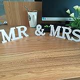 Musuntas® Dekoration Hochzeit aus Holz, Mr & Mrs Holz Buchstaben, Hochzeitsgeschenk 21cmX 10cm X 1.5cm - 4