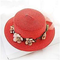 Henanyimeixiang Sombrero Plana Cinta de la Flor del Arco de Padre-Hijo Verano Nuevas señoras Sombrero for el Sol Sombrero del Cubo Beige Tapa del cordón del Sombrero de Paja Sombrero de la Playa