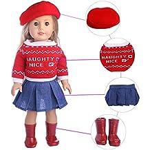 ... chaparreras y un sombrero. Traje de Invierno Conjunto de 4 Piezas  Jersey Estampado Manga Larga+Sombrero Rojo+Falda 68234aa6b13