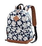 Gezu Rucksäcke Damen Schulrucksack UniTasche Vintage Rucksack und Kinderrucksäcke GZ00133 (Weisse Blumen)