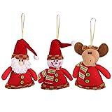 3pcs Babbo Natale Pupazzo Di Neve Renna Albero Di Natale Appeso Decorazione