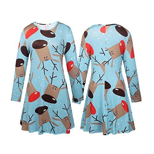 Honghu Manches Longues Noël Robes Femme,Santa Impression Dress de Swing Party de Noël Automne-hiver Bleu 1