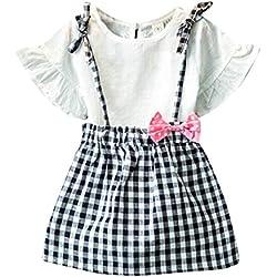 OverDose 2PCS Niño bebés niños ropa de las niñas ropa de manga corta camiseta + conjunto de falda escocesa (2-3 años, Blanco)