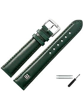 Uhrenarmband 12mm Leder glatt grün mit Naht, Bombage - inkl. Federstege & Werkzeug - leichte Polsterung, glatte...