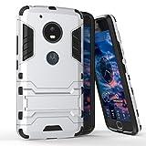 Funda para Motorola Moto G5 (5 Pulgadas) 2 en 1 Híbrida Rugged Armor Case Choque Absorción Protección Dual Layer Bumper Carcasa con pata de Cabra (Plateado)
