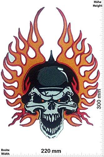 Patch - Skull Fire - 30 cm - BIGPATCH - Rocker - Biker - Patches - Aufnäher Embleme Bügelbild Aufbügler