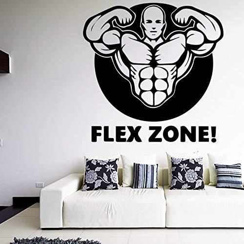 Muscle Man Decals Zitate Flex Zone Kunstwand Tapete Removalbe Wandaufkleber für GYM Wohnzimmer Wasserdichte Sport Decor XL 58 cm X 57 cm