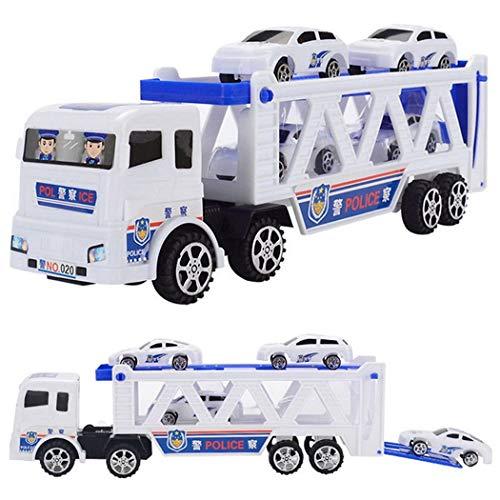 Alokie Carro del Juguete del transportador del Coche del Coche policía con el vehículo de Transporte del Remolque y Coche policial 4 PC