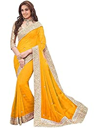 Poplin Women's Floral Lace Work Stone Emblished Sarees
