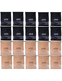 AFEO Black and Beige Non-Woven Fabric Shoe Bag with clear window, Pack of 20