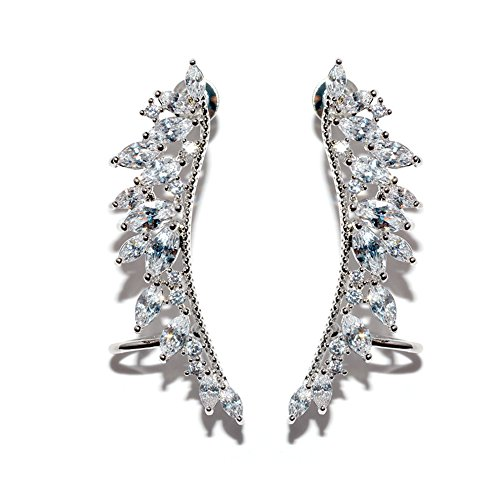 HOMEYU® Crystal Alas ángel CZ Ear Cuffs Vines Climber