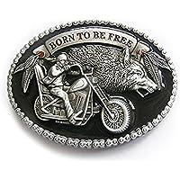eeddoo Cinturón Hebilla–Born To Be Free–con Wolf–Biker Buckle (Buckle para cambio Cinturón para hombre y mujer)