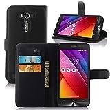 Guran Housse En Cuir pour Asus ZenFone 2 Laser ZE550KL (5,0 pouces) Smartphone Flip Cover Etui Debout Fonction et Fente Porte-cartes Cas-noir