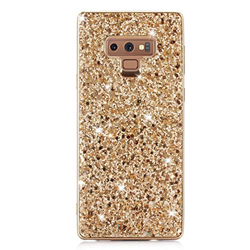 Coque Samsung Galaxy Note 9 Paillette, Coollee Etui Anti-Choc 360 Degres Protection Glitter Strass Brillante Bling Luxe Femme Silicone Housse Dur Shell INTEGRAL Ultra Mince Bumper Case Cover pour Samsung Galaxy Note 9, D`or Pailleté