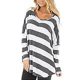 Damen Bluse Yesmile Frauen Langarm Elegant Damen Bluse T-Shirt Casual Bluse T Shirt 2018 Frühling Sommer Gestreift Oberteil Tops (M, Grau-B)