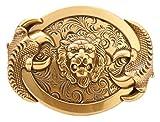 Gurscour Mode Westlichen Antike Messing Graviert Blume 3D Löwe Gürtelschnalle
