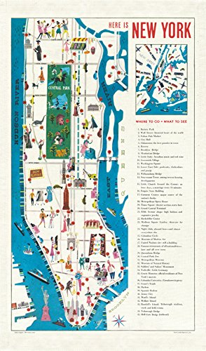 Cavallini Papers & Co New York City Map Cavallini Vintage Baumwolle Geschirrtuch